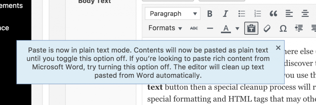 paste as text popup