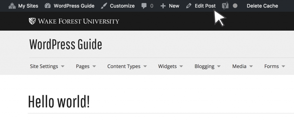 toolbar edit post