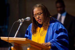 Professor Veronice Miles gives the prayer