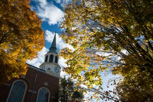 Fall color blankets the Wake Forest campus.