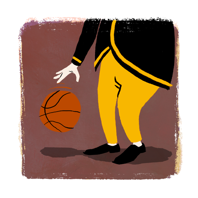 Deacon Playing Basketball Illustration