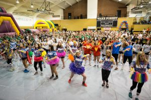 Wake Forest students dance to raise money for cancer research during the ninth annual Wake n Shake event in Reynolds Gym.