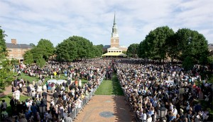 Graduation outside of Wait Chapel