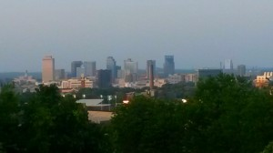 Beautiful Nashville skyline form Love Circle Park