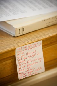 A to-do list from a student studying for finals in the ZSR Library.