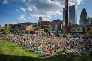 Bailey Park in downtown Winston-Salem holds their monthly public yoga class on Wednesday, June 28, 2017.