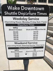 Wake Downtown shuttle schedule