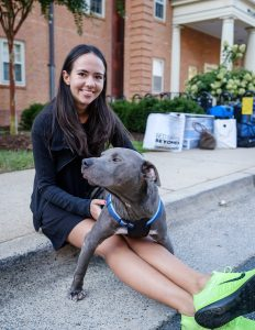 New Wake Forest students move into their residence halls on Friday, August 26, 2016. Isabella Grana ('20) and her parents, Tino and Suzen, drove the work van down from New York City with their dog Gummy Bear.