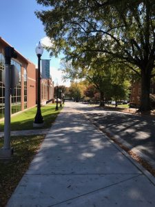 A view down the hill by Reynolds Gym