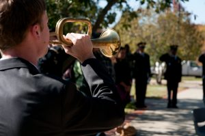 Wake Forest ROTC presents a Veterans Day ceremony to commemorate current and past soldiers at university flag pole.