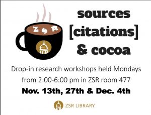 Sources, citations, and cocoa workshop flyer