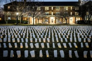 Luminaries cover the Wake Forest quad on Sunday, December 3, 2017.