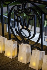 Luminaries cover the steps to Reynolda Hall on the campus of Wake Forest University, Sunday, December 3, 2017.