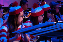 Students dress as Waldo for the Halloween orchestra concert.