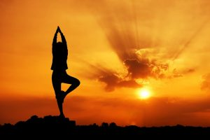Yoga pose as sunset