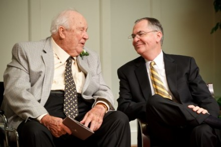 Porter Byrum (JD '42 - left) and President Hatch celebrate the dedication of the new Porter B. Byrum Welcome Center.