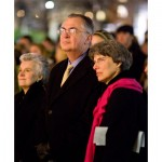 President and Mrs. Hatch enjoy the annual Lighting of the Quad