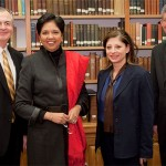 President Hatch welcomes PepsiCo CEO Indra Nooyi and CNBC's Maria Bartiromo, with Business Dean Steve Reinemund, during the Wake Forest MBA Marketing Summit in February 2009