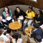 "Dr. Hatch and students discuss important campus issues over coffee at a ""Hangin' with Hatch"" event"