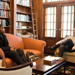 President Hatch with Delvon Worthy ('07) in the president's office.