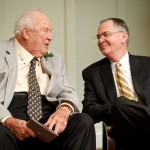 Porter Byrum (JD '42) and President Hatch celebrate the dedication of the new Porter B. Byrum Welcome Center.