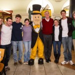 President Hatch with students during a late night breakfast on the night before exams.