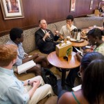 President Hatch talks with students over coffee in Starbucks during Hang with Hatch.