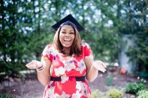 Woman wearing a graduation cap