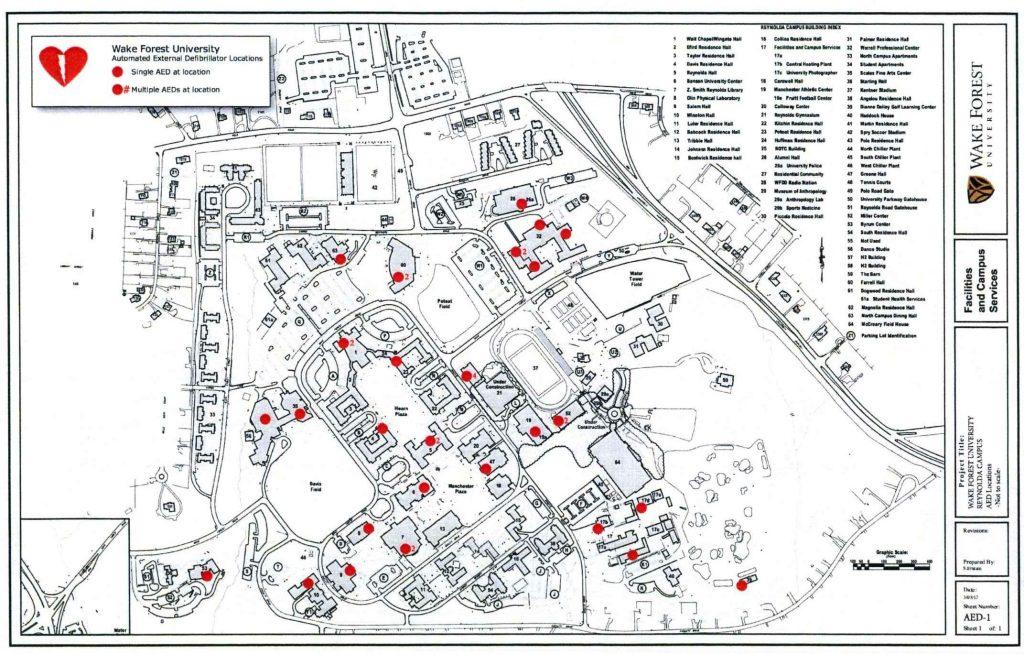 AED Locations Reynolda Campus