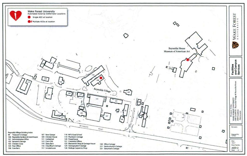 AED Locations Reynolda Village