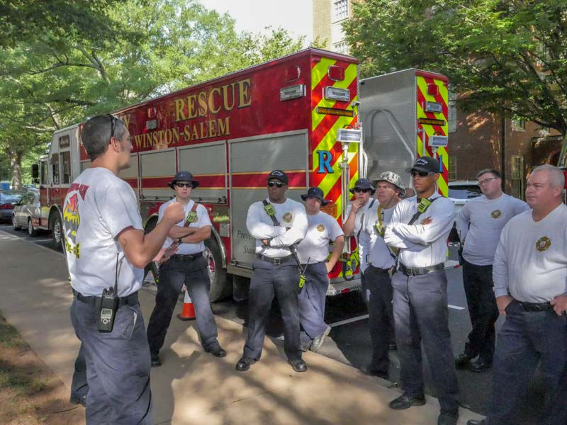 fire department meets before confined space training with WFU rescue staff