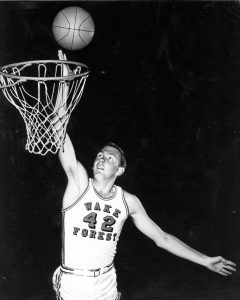 Richard Carmichael playing basketball for Wake Forest.