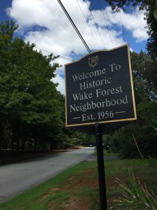 Historic Wake Forest Neighborhood sign