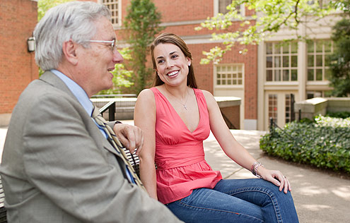 Tyler Humphreys ('09), one of six students to accept Fulbright fellowships for this year, talks with her faculty mentor, Professor of Classical Lanuages Robert Ulery.