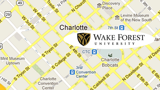 Wake Forest on Charlotte map