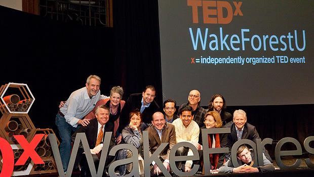 TEDxWakeForestU speakers on stage