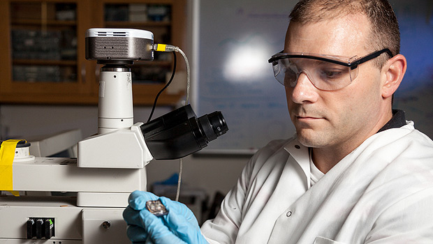 Jason Gagliano, a biology graduate student, works in a Wake Forest lab.