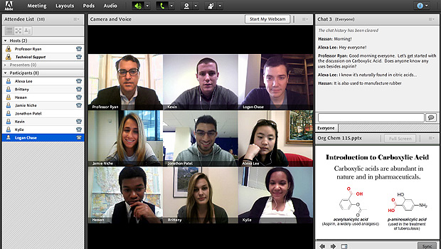 Students in an online class