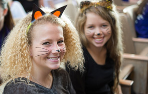 Students dressed up for Project Pumpkin.