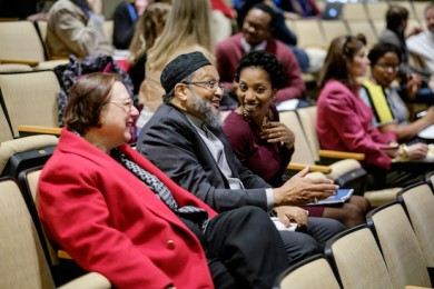 Associate Chaplain for Jewish Life Gail Bretan, Associate Chaplain for Muslim Life Khalid Griggs, and Associate Chaplain K. Monet Rice participate in a campus discussion with Interfaith Youth Core staff.