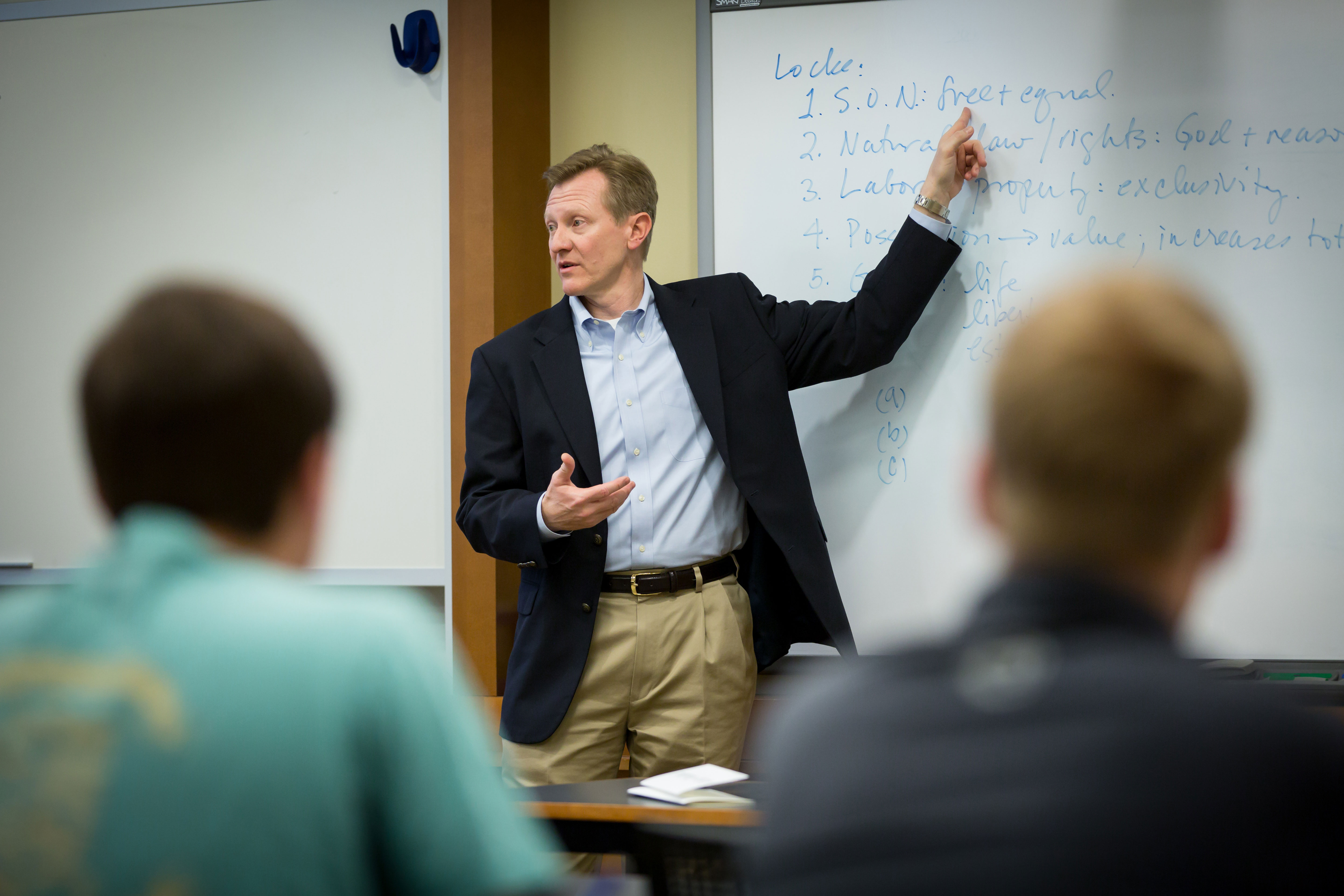 Otteson, a distinguished scholar of philosophy and political economy, in the classroom.