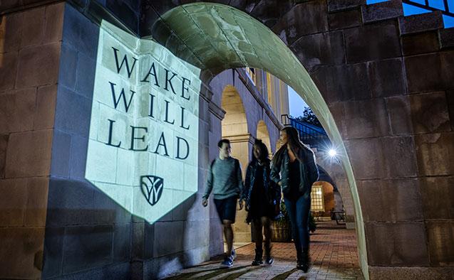 WFU students walking on campus