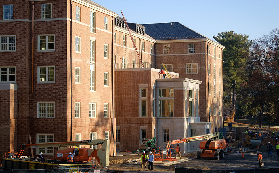 Construction is scheduled for completion in December on Maya Angelou Hall, a 76,110-square-foot, five-story building.