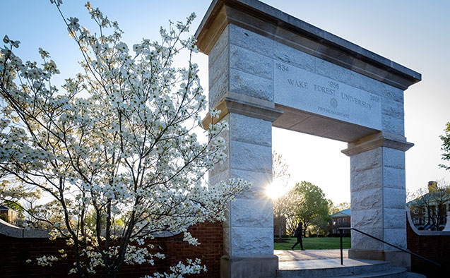 Arch on the quad at Wake Forest University