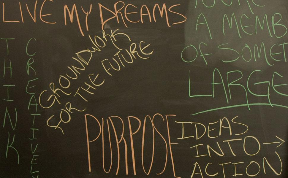 Words written on a chalkboard