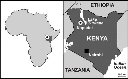 Map of Africa and Kenya, showing the location of Napudet, where Alesi was found. © Isaiah Nengo.