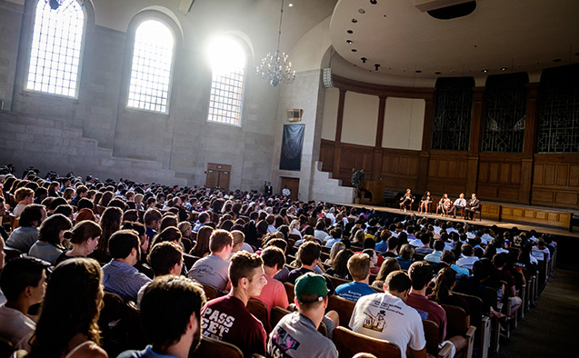 A panel discussion in Wait Chapel at Wake Forest University.