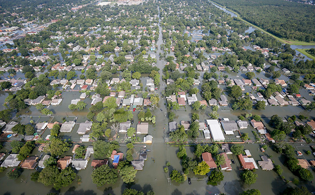 An aerial image of Houston flooding