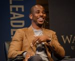 NBA basketball player Chris Paul visits Wake Forest, which he attended for two years, to talk about leadership as part of the Leadership Project with President Nathan O. Hatch.