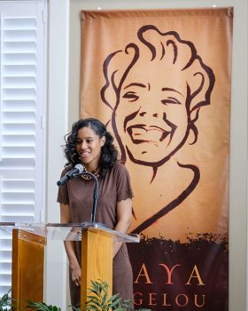 """Wake Forest University holds a dedication ceremony for the new Maya Angelou Residence Hall on Friday, February 17, 2017. Nia McIntosh ('18) performs """"Still I Rise"""" to open the ceremony."""
